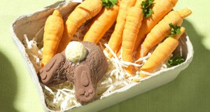 Chocolate rabbit and carrots